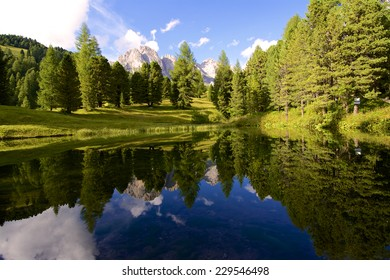 Pictorial beautiful mountain lake in the World Heritage Dolomites