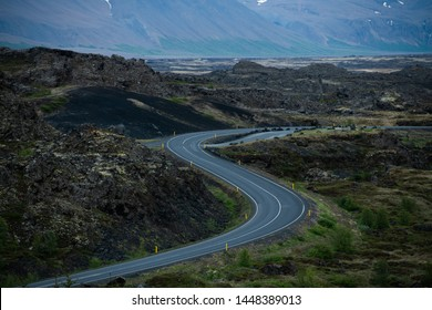 Pictorial curly icelandic road among lava fields