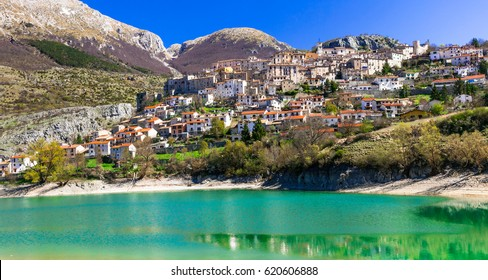 Pictorial emerald lake - Lago di Barrea and medieval village in Abruzzo, Italy