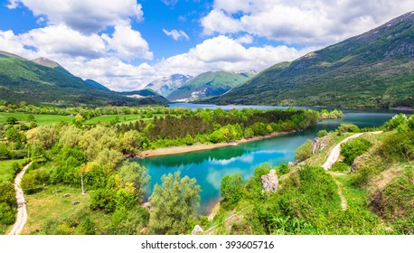 Pictorial lake Barrea in Abruzzo, Italy