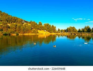 The pictorial lake of Beletsi at Parnitha mountain near Athens Greece. HDR processed