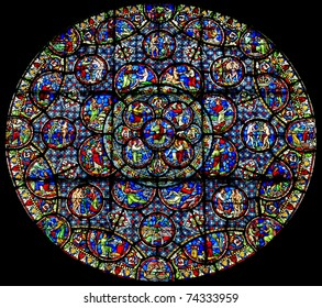 The pictorial Old Testament on the rose window of Dijon Notre Dame cathedral, France