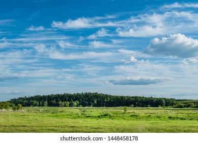 Pictorial rural nature background with green grazing and deep blue cloudy sky