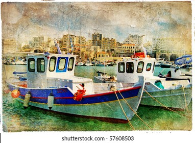 pictorial small harbors of greek islands-artwork in painting style