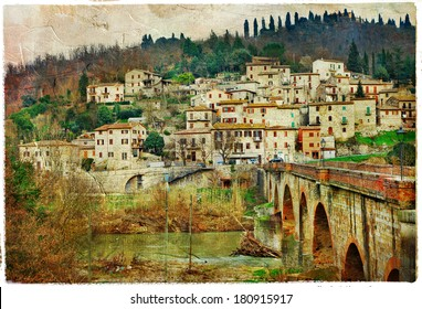 pictorial villages of Italy, Umbria. artwork in painting style