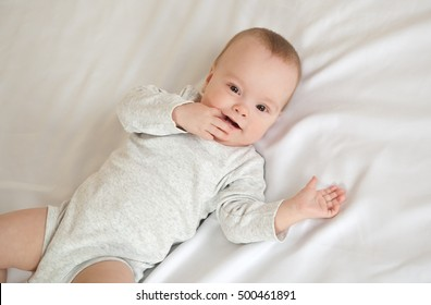 ece9c38f3 3 Month Old Baby Lying Down Stock Photo (Edit Now) 361730900 ...