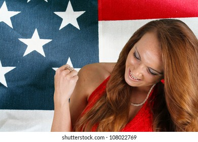 Picture of and adult woman with the flag