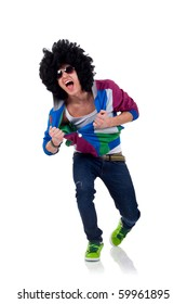 picture of an afro man pulling his clothes over white