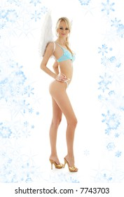 picture of angel blond in blue lingerie with snowflakes