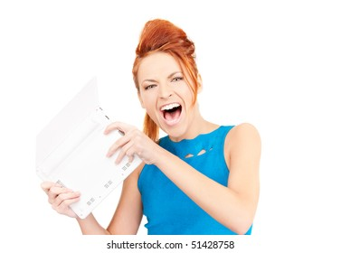 picture of angry woman with laptop computer