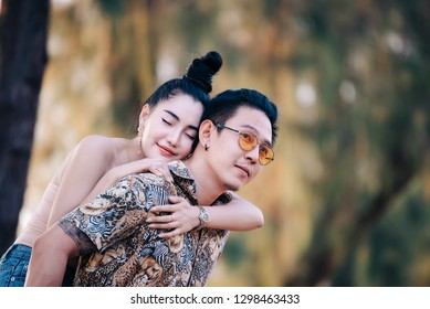 Picture of asian couple in love have fun,Happy people concept,Thailand people,Love is everything,Valentive day