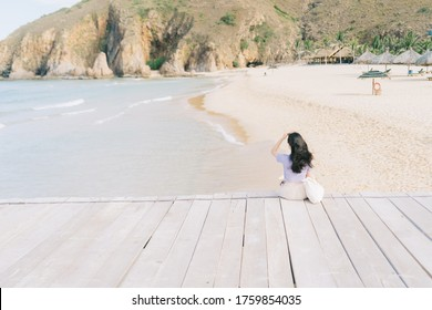 A picture of Asian woman  travel to Ky Co beach, Quy Nhon City, Binh Dinh province, Vietnam - Shutterstock ID 1759854035