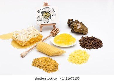 Picture with an assortment of different bee products
