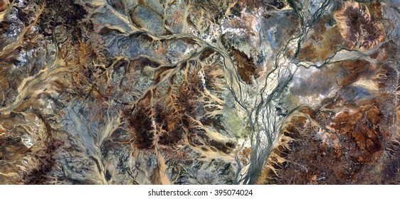 Picture of autumnal forest in the desert, abstract photography of the deserts of Australia from the air, bird's eye view, abstract expressionism, contemporary art, optical illusions,