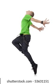 picture of an awesome dancer standing on his tip toes making a cool dance pose