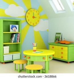 Picture of a baby, design on the wall, picture on the table and book covers are my own images.