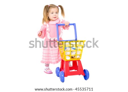 759e86e83c09 Picture Baby Girl Pushing Toy Shopping Stock Photo (Edit Now ...