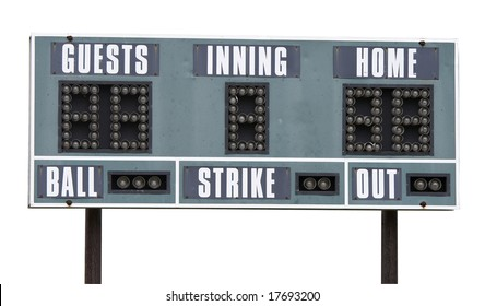 a picture of a baseball scoreboard on a white background
