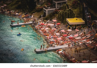 A picture of a beach-related model scene inside the Grand Maket Russia.
