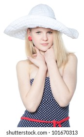 Picture of beautiful blonde teenage girl in a big white summer hat over white
