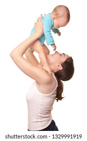 Picture of beautiful mother holding happy baby isolated on white. Happy family