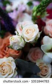 Picture of a beautiful wedding bouquet with roses close-up