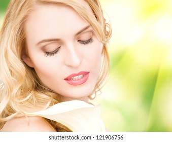 picture of beautiful woman with calla flower