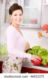 picture of beautiful woman in the kitchen