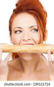 picture of beautiful woman with long french baguette