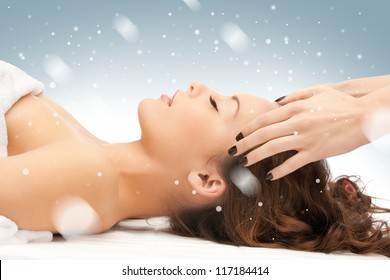 picture of beautiful woman in massage salon