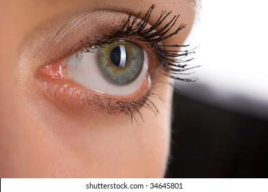 picture of beautiful woman open  eye closeup