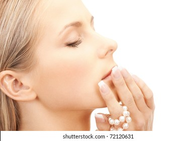 picture of beautiful woman with pearl beads