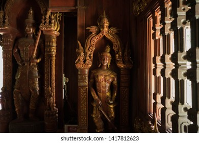 Picture of beautiful wood sculpture at wat luang khun win Temple in Chiangmai