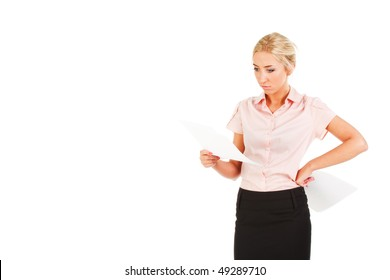Picture of a beautiful young business lady in blouse with a papers