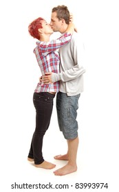 picture of a beautiful young couple, isolated on white