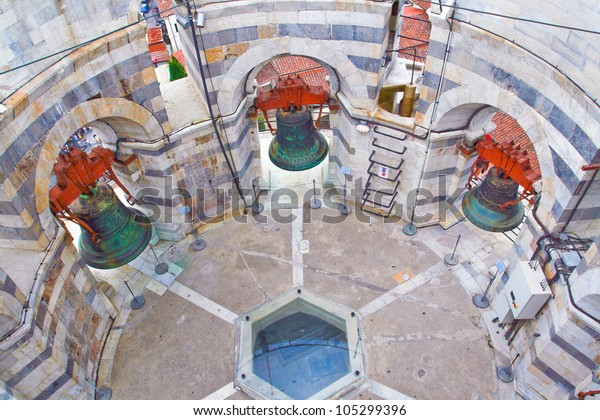 Picture of the bells, located inside the Leaning Tower of Pisa, Italy.