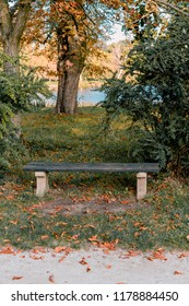 Picture of bench at autumn near of Lednice palace in south moravia.