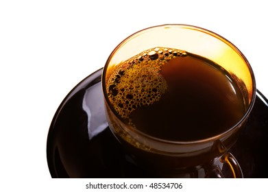 Picture of the black glass cup of coffee with a saucer on a white background