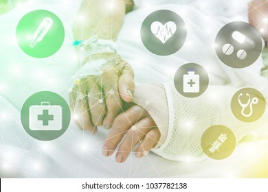 Picture blur the hands of patients who undergo surgery.The hand of the old man in the hospital. The patient sleeps at bed. lines Link to Medical or physician symbols.