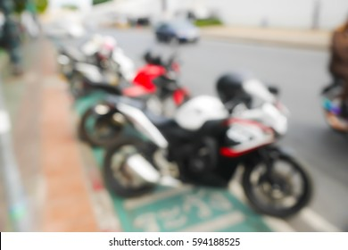 Picture blurred abstract background of Motorcycle parking