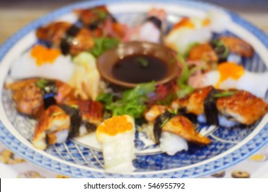 Picture blurred  for background abstract and can be illustration to article of sushi japanese food