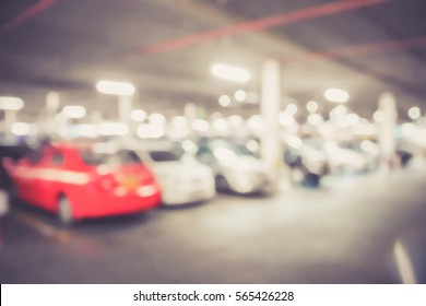 Picture blurred  for background abstract and can be illustration to article of Cars parked in the parking lot