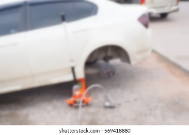 Picture blurred  for background abstract and can be illustration to article of car in garage