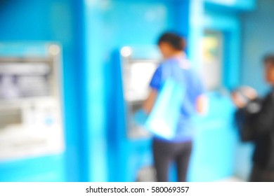 Picture blurred  for background abstract and can be illustration to article of people use atm