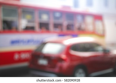 Picture blurred  for background abstract and can be illustration to article of bus in thailand