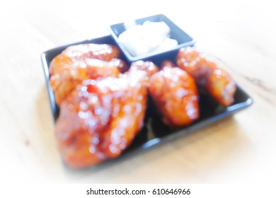 Picture blurred  for background abstract and can be illustration to article of fried chicken