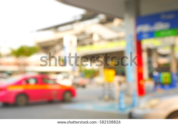 Picture blurred  for background abstract and can be illustration to article of filling station