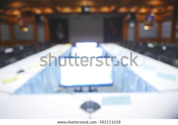 Picture blurred  for background abstract and can be illustration to article of room for business meeting