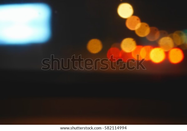 Picture blurred  for background abstract and can be illustration to article of traffic in night with bokeh