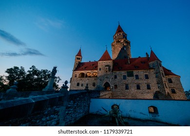 Picture of Bouzov castle at the evening.
